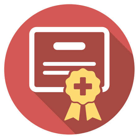 admittance: Medical Certification long shadow icon. Style is a light flat symbol on a red round button. Illustration