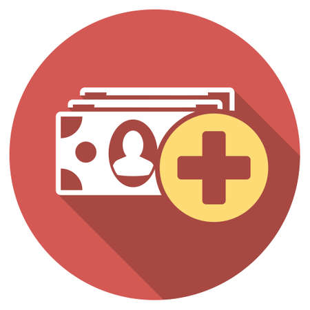 medical bills: Medical Expences long shadow icon. Style is a light flat symbol on a red round button.