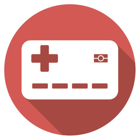 allowed to pass: Medical Insurance Card long shadow icon. Style is a light flat symbol on a red round button. Illustration