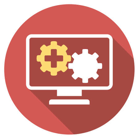 gear box: Medical Process Monitoring long shadow icon. Style is a light flat symbol on a red round button.