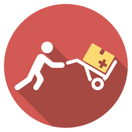 emergency cart: Medical Shopping long shadow icon. Style is a light flat symbol on a red round button.