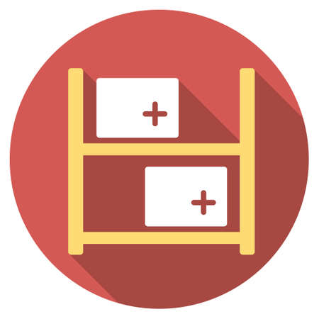 storage data product: Medical Warehouse long shadow icon. Style is a light flat symbol on a red round button. Illustration
