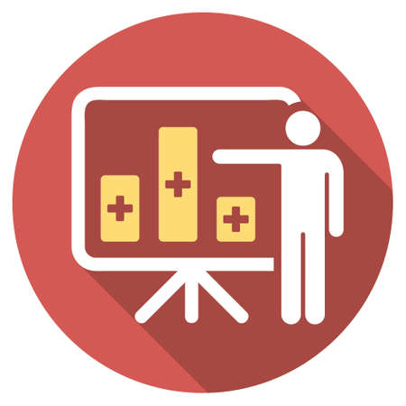 health care analytics: Medical Bar Chart Presentation long shadow icon. Style is a light flat symbol on a red round button.