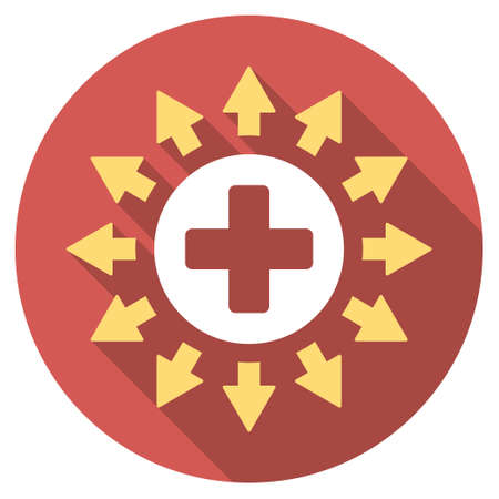 medical distribution: Pharmacy Distribution long shadow icon. Style is a light flat symbol on a red round button. Illustration