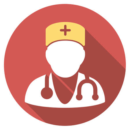 auscultation: Physician long shadow icon. Style is a light flat symbol on a red round button. Illustration