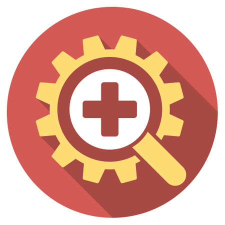 medical technology: Find Medical Technology long shadow icon. Style is a light flat symbol on a red round button.