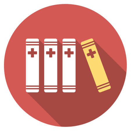 periodicals: Medical Books long shadow icon. Style is a light flat symbol on a red round button. Illustration