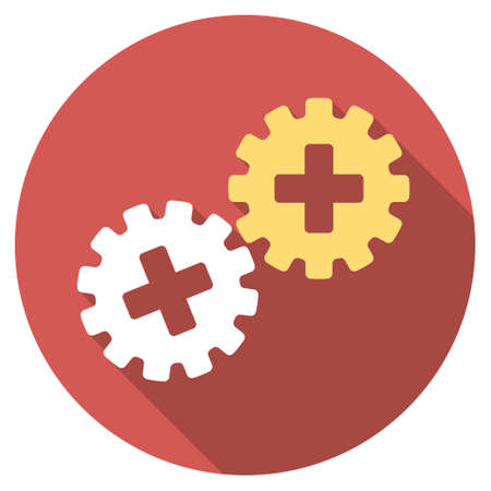 gear box: Medical Gears long shadow icon. Style is a light flat symbol on a red round button.