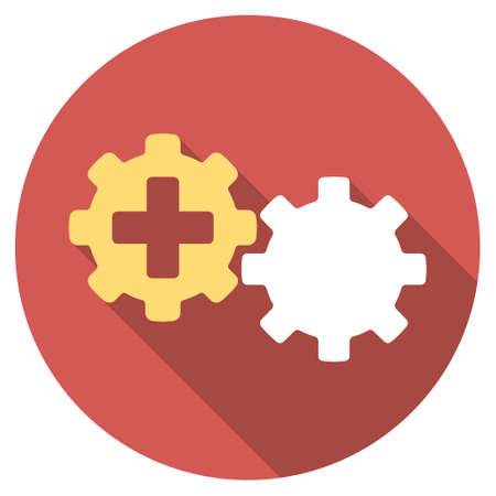 gear box: Medical Process long shadow icon. Style is a light flat symbol on a red round button.