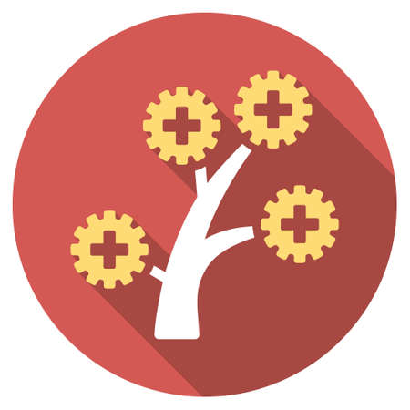 medical technology: Medical Technology Tree long shadow icon. Style is a light flat symbol on a red round button. Illustration