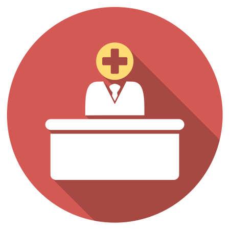 bureaucrat: Medical Bureaucrat long shadow icon. Style is a light flat symbol on a red round button. Illustration