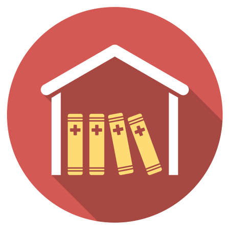 directory book: Medical Library long shadow icon. Style is a light flat symbol on a red round button.