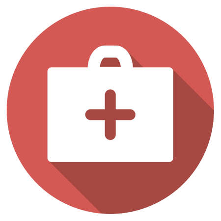 First Aid long shadow icon. Style is a light flat symbol on a red round button. Stock Photo