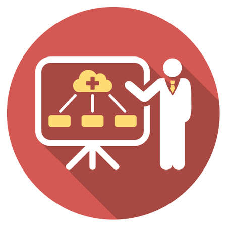 health care analytics: Health Care Structure Report long shadow icon. Style is a light flat symbol on a red round button.