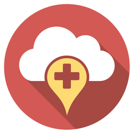 dropbox: Medical Cloud long shadow icon. Style is a light flat symbol on a red round button. Stock Photo
