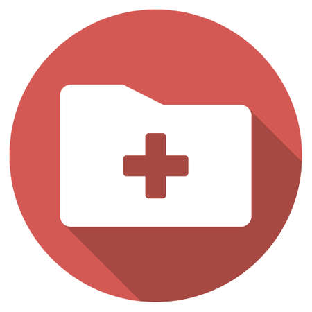 data dictionary: Medical Folder long shadow icon. Style is a light flat symbol on a red round button.