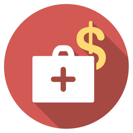health care funding: Medical Fund long shadow icon. Style is a light flat symbol on a red round button.