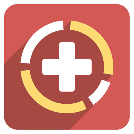 health care analytics: Health Care Diagram long shadow icon. Style is a light flat symbol on a red rounded square button.