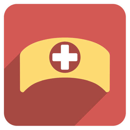 hat with visor: Doctor Cap long shadow icon. Style is a light flat symbol on a red rounded square button. Illustration