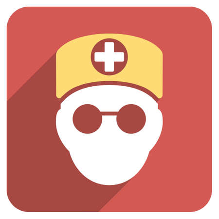 orderly: Doctor Head long shadow icon. Style is a light flat symbol on a red rounded square button. Illustration