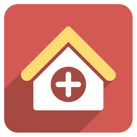 polyclinic: Hospital long shadow icon. Style is a light flat symbol on a red rounded square button.