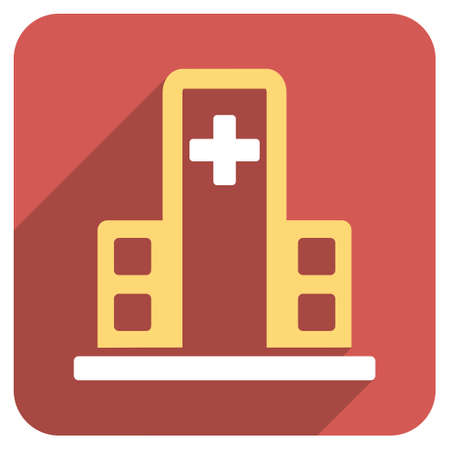 polyclinic: Hospital Building long shadow icon. Style is a light flat symbol on a red rounded square button.