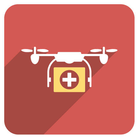 airflight: Medical Drone long shadow icon. Style is a light flat symbol on a red rounded square button. Illustration