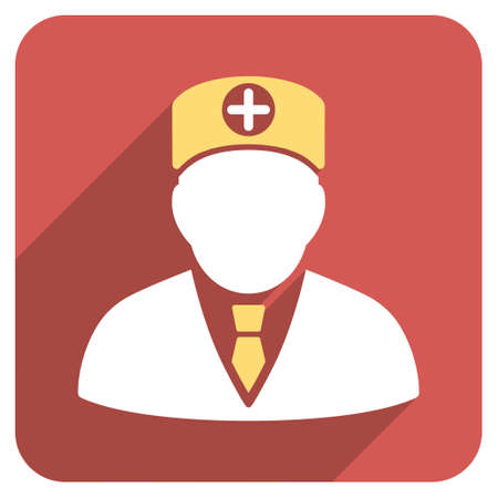 physician: Head Physician long shadow vector icon. Style is a light flat symbol on a red rounded square button.
