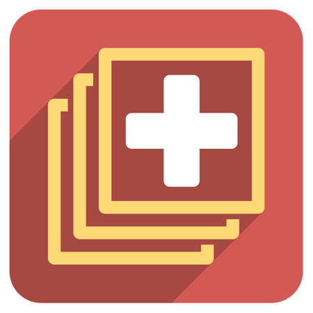 docs: Medical Docs long shadow vector icon. Style is a light flat symbol on a red rounded square button. Illustration