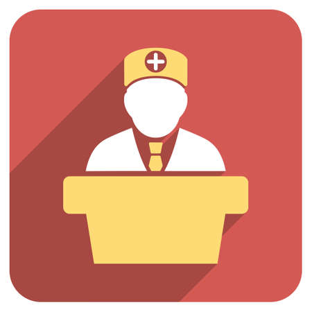 official symbol: Medical Official Lecture long shadow vector icon. Style is a light flat symbol on a red rounded square button. Illustration
