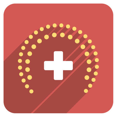 health care protection: Dotted Health Care Protection long shadow icon. Style is a light flat symbol on a red rounded square button.