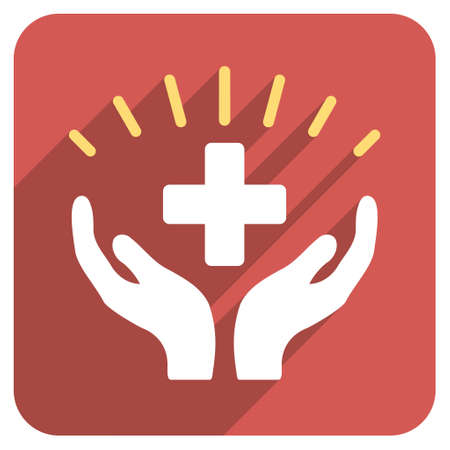 medical distribution: Medical Prosperity long shadow icon. Style is a light flat symbol on a red rounded square button.