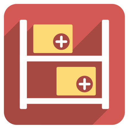 medical distribution: Medical Warehouse long shadow icon. Style is a light flat symbol on a red rounded square button.