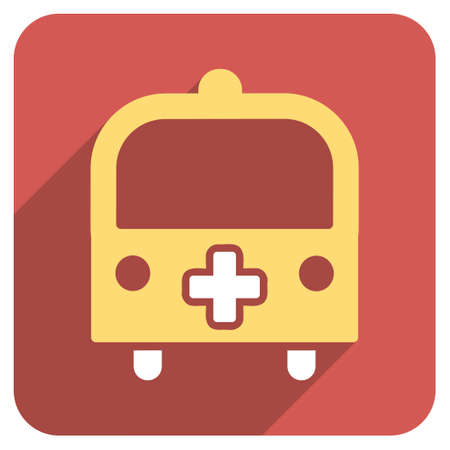 schoolbus: Medical Bus long shadow icon. Style is a light flat symbol on a red rounded square button.