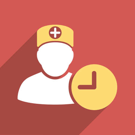 Doctor Hours long shadow vector icon. Style is a light flat symbol on a red square button.