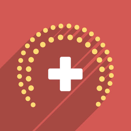 health care protection: Dotted Health Care Protection long shadow vector icon. Style is a light flat symbol on a red square button.