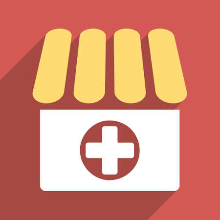 polyclinic: Drugstore long shadow vector icon. Style is a light flat symbol on a red square button.