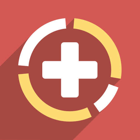 health care analytics: Health Care Diagram long shadow vector icon. Style is a light flat symbol on a red square button.