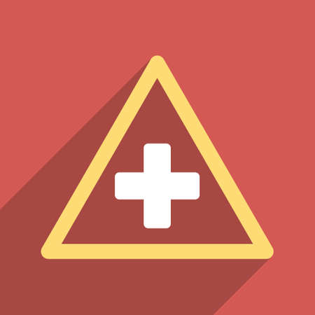 precautions: Health Warning Triangle long shadow vector icon. Style is a light flat symbol on a red square button.