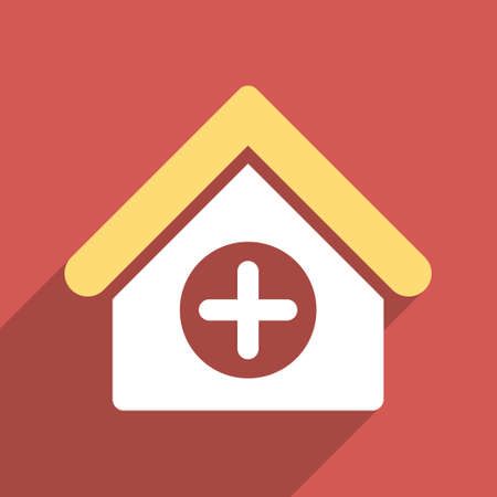 polyclinic: Hospital long shadow vector icon. Style is a light flat symbol on a red square button. Illustration