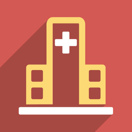 polyclinic: Hospital Building long shadow vector icon. Style is a light flat symbol on a red square button.
