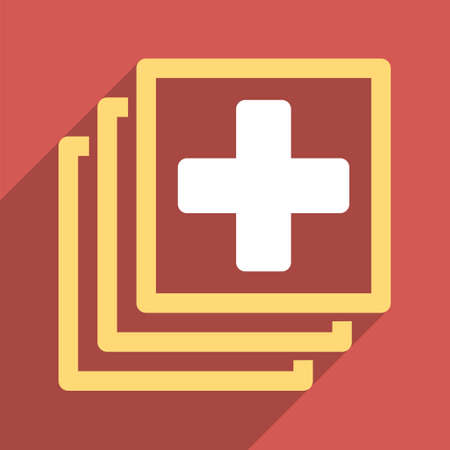 docs: Medical Docs long shadow vector icon. Style is a light flat symbol on a red square button. Illustration