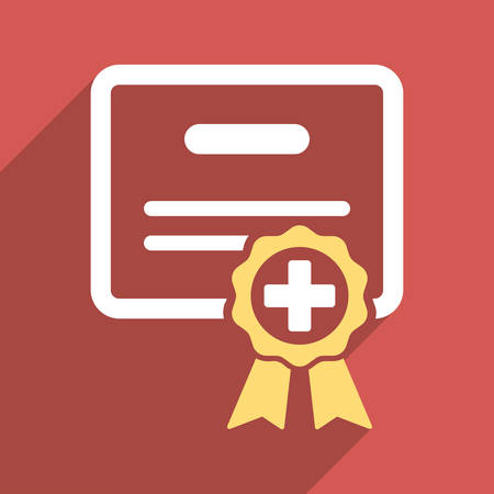 credential: Medical Certificate long shadow vector icon. Style is a light flat symbol on a red square button.