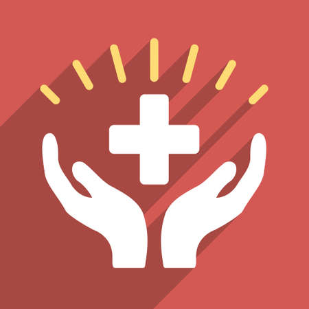 medical distribution: Medical Prosperity long shadow vector icon. Style is a light flat symbol on a red square button.