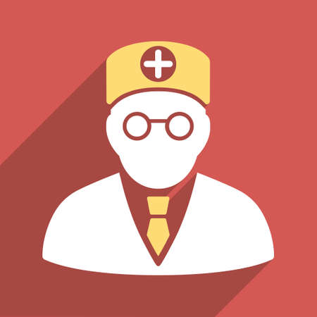 physician: Head Physician long shadow vector icon. Style is a light flat symbol on a red square button. Illustration