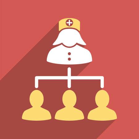 pacientes: Los pacientes enfermera icono larga sombra. El estilo es un s�mbolo de luz plana en un bot�n cuadrado rojo.