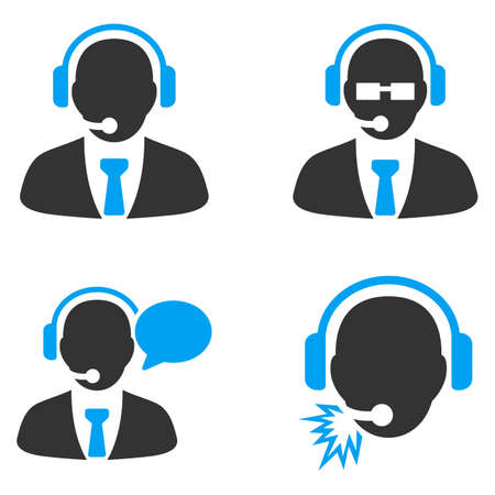 bicolored: Call Center Managers vector icons. Style is flat bicolored symbols painted with blue and gray colors on a white background, angles are rounded.