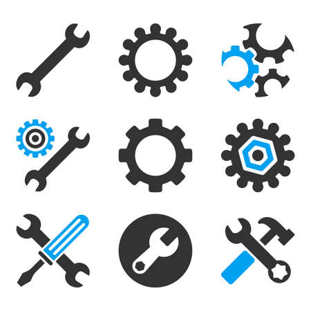 hardware configuration: Configuration Tools vector icons. Style is flat bicolored symbols painted with blue and gray colors on a white background, angles are rounded. Illustration