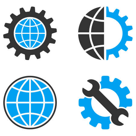 bicolored: Global Development vector icons. Style is flat bicolored symbols painted with blue and gray colors on a white background, angles are rounded.