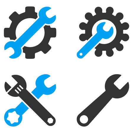 configuration: Configuration Tools vector icons. Style is flat bicolored symbols painted with blue and gray colors on a white background, angles are rounded. Illustration